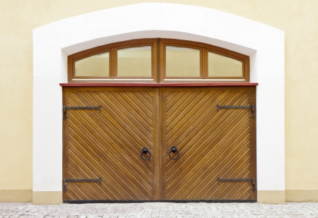 Strong wooden gate with rivets Stock Photo - 14166865