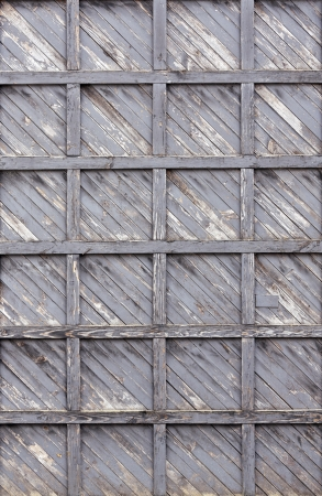 Old weathered planks with peeling paint background photo