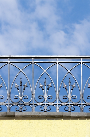guard rail: Beautiful metal fence against a blue sky