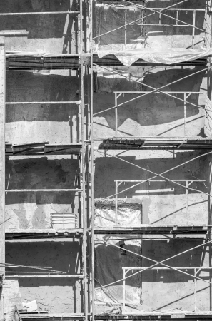 Construction site of private apartments with Scaffolding photo