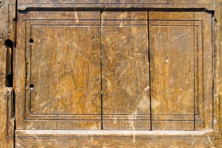 Carved wood panel door detals photo