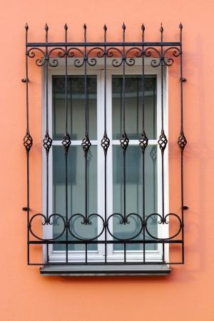 lattice window: Window with a beautiful black metal lattice Stock Photo