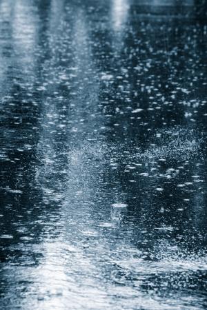 水たまりに波打つ雨の滴