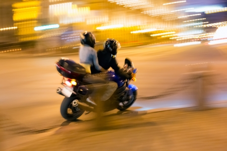 Speed motorcycle at night city Stock Photo - 15750362