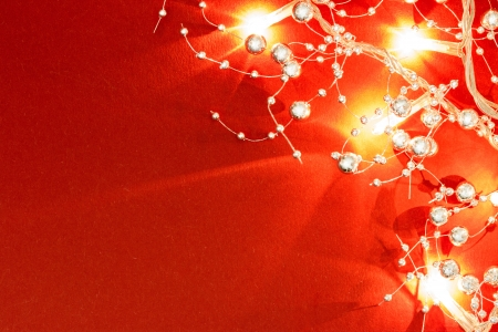 Glittery Christmas lights with decorations photo