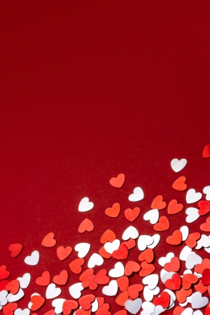 Red and white hearts confetti photo