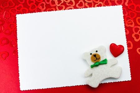 valentine s day teddy bear: Cute teddy bear with red hearts