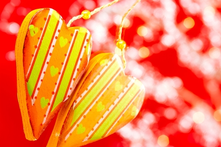 Wooden painted heart on festive background Stock Photo - 17121117