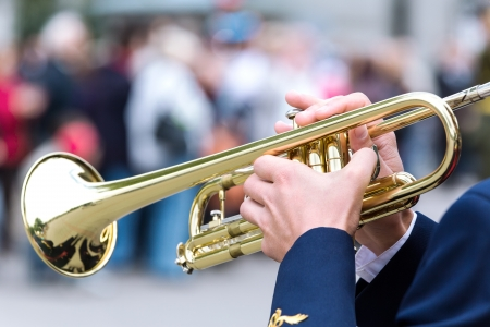 Close view of person playing the trumpet Stock Photo - 17598426
