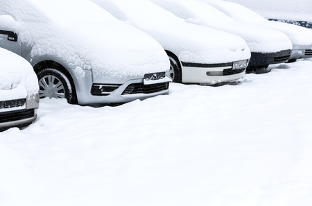 Parking lot in winter storm Stock Photo