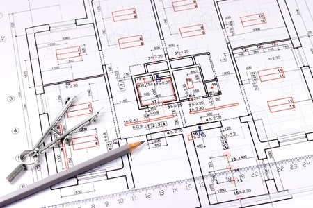 Architectural drawing, pencil and drawing compass Stock Photo