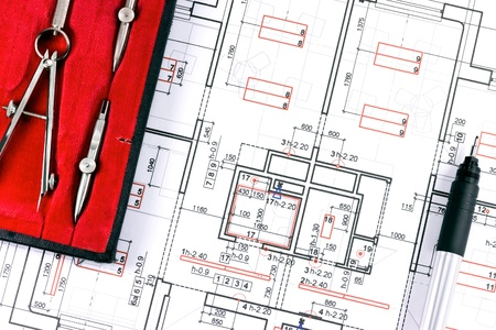 architect tools: Architect workspace, tools, and blueprint Stock Photo