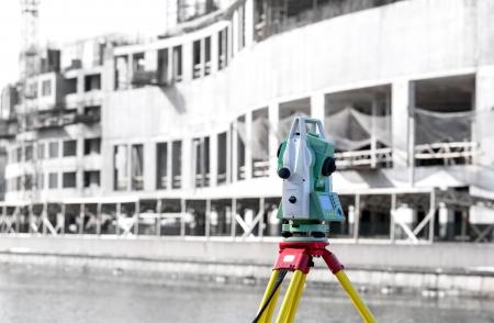 tacheometer: Measurement theodolite tool at construction site