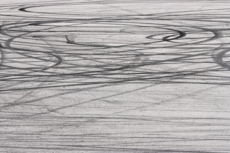 Skid marks on road surface photo