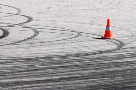 braking: Traces of a braking on an asphalt Stock Photo
