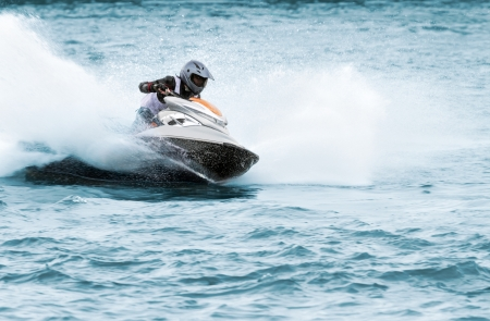 Man on a high speed jet ski