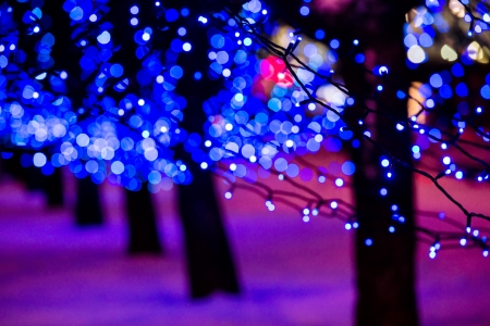 background lights: Colorful Christmas illumination in city street