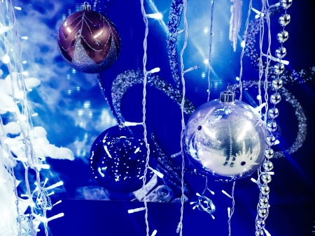 colour: Christmas background with baubles Stock Photo