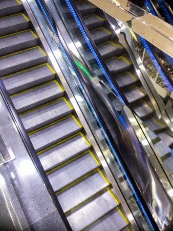 shiny metal: Modern escalator