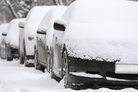 Snow covered cars after snowfall photo