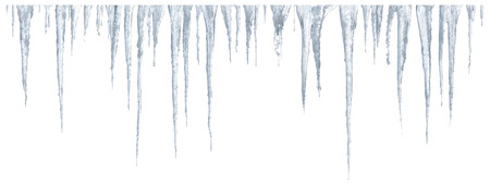 Set of icicles on white background