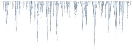 Set of icicles on white background
