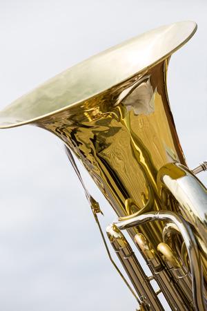 blaasinstrument: Detailweergave van koperen blaasinstrument