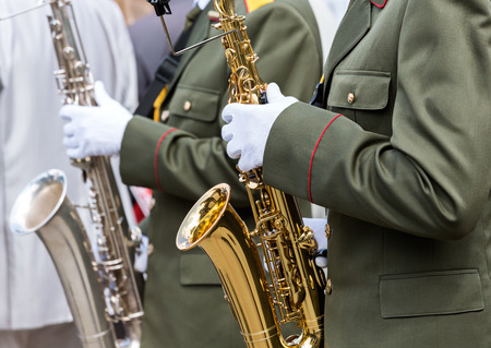 Military band performing at the music festival photo