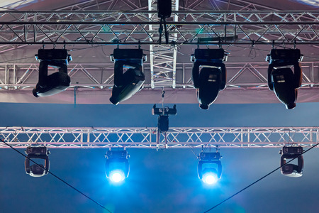 Structures of stage illumination spotlights equipment and projectors photo