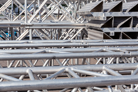 steelwork: Set of metal trusses and equipment for mounting outdoor stage Stock Photo