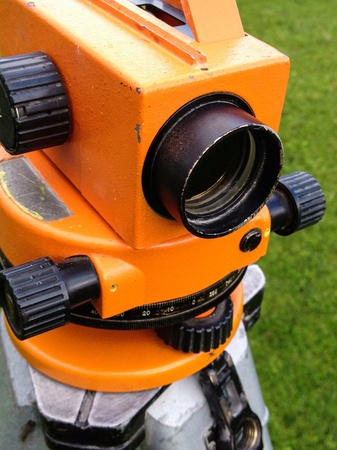 tripod mounted: Optical leveling tool mounted on tripod