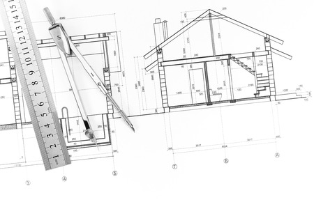drawing compass: Architectural blueprints of new homes, ruler and drawing compass Stock Photo