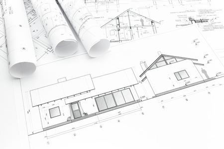 新しい家の建築の青写真と建設計画ロール 写真素材