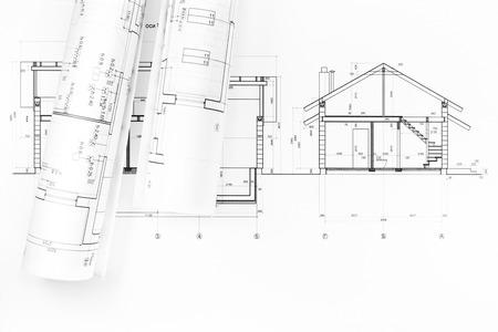 Rolls De Plans De Maisons D\'architecture Et Des Dessins Techniques ...