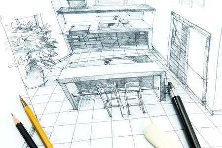 손 인테리어 디자인 그리기. 건축 프로젝트의 일부입니다.