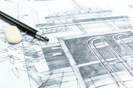 インテリア デザイン、描画の手。建築プロジェクトの一部です。 写真素材