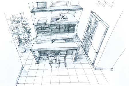 Graphical sketch by pencil of an interior kitchen. Architectural drawing. photo
