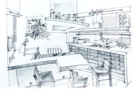 Grafische Skizze mit Bleistift eines Innen Küche. Architekturzeichnung. Standard-Bild - 27345743