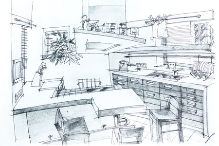 architectural plan: Graphical sketch by pencil of an interior kitchen. Architectural drawing.