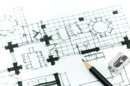 Graphical sketch by pencil of house plan. Hand drawing. photo
