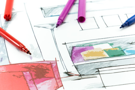 Project interior design. Hand drawing details of interior.  Stock Photo