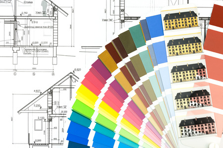 Color samples with architectural drawing of house plan photo