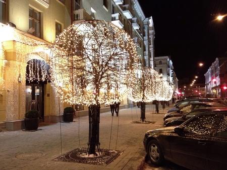 City street illuminated at night