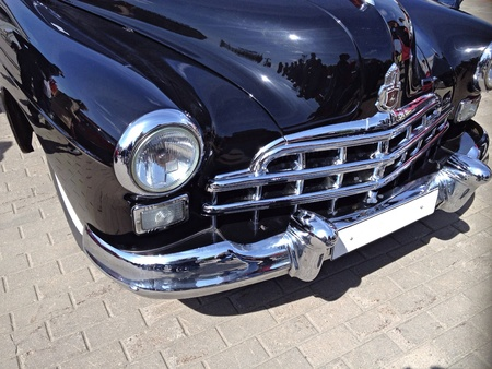 chrome: Black classic car front view Stock Photo