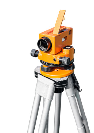 elevation meter: Construction equipment theodolite tool on white background