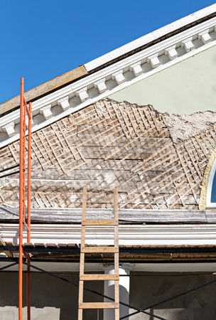 refurbished: Old town house is being renovated and refurbished Stock Photo