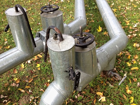 industrial: Steel pipeline and valves Stock Photo
