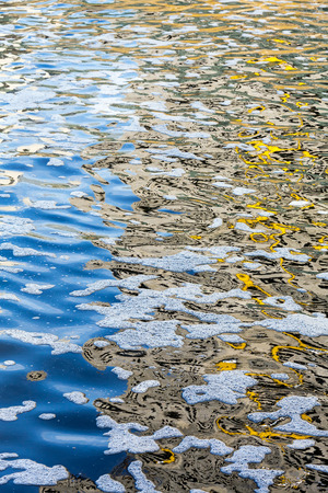 Polluted water with different colored patches on surface
