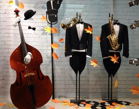 apparel: Display window with mannequins