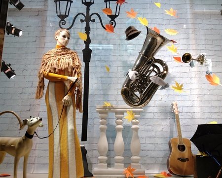 clothing: Clothing store interior with mannequin